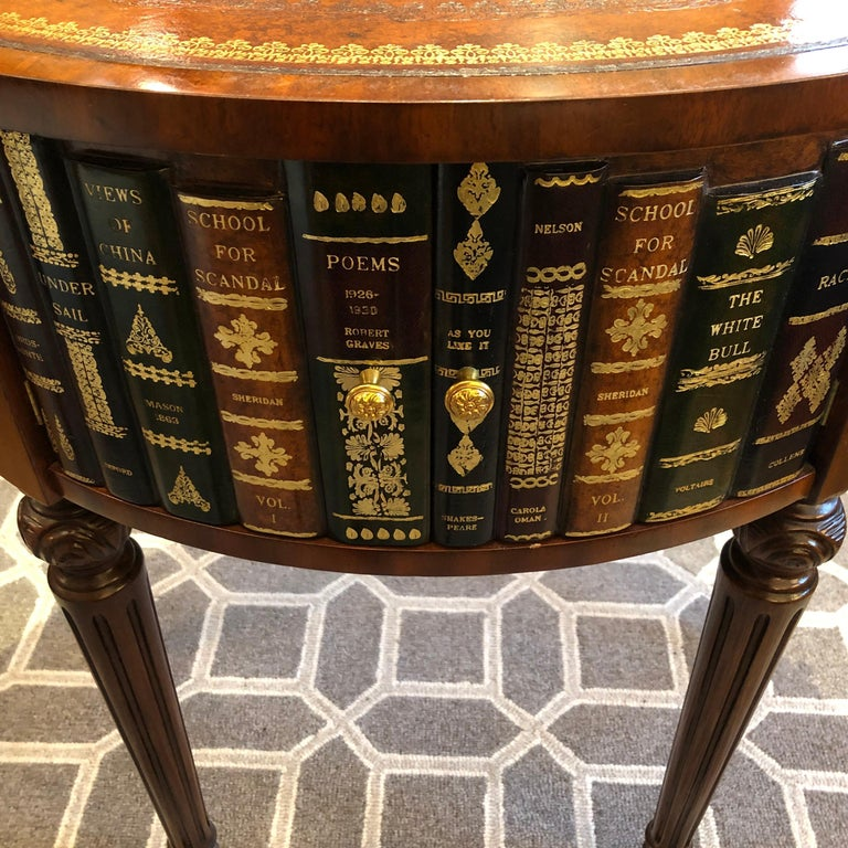 Sumptuous Round Leather Wrapped Book Motife Center or Side Table For Sale 3