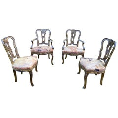 Sumptuous Set of 4 Venetian Hand Painted Dining Chairs with Tapestry Seats