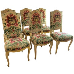 Sumptuous Set of Six Dining Side Chairs with Original Cut Velvet Upholstery