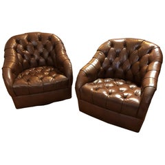 Sumptuous Tufted Ward Bennett Swivel Club Chairs in Original Supple Leather Pair