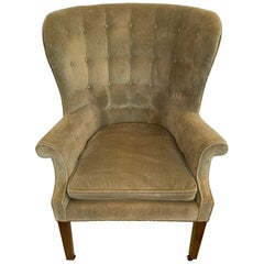 Sumptuous Vintage Tufted Sage Green Velvet Barrel Back Wing Chair