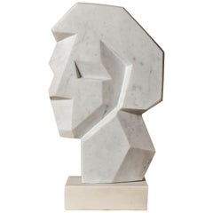 "Sumptuous White Carrara Marble Sculpture by SAVY ""Visage"", France, 2002"