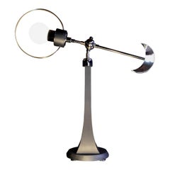 "/ ART DONOVAN /  ""Sun+Moon II""  Glowing Polished Nickel, Wood, Globe Table Lamp"