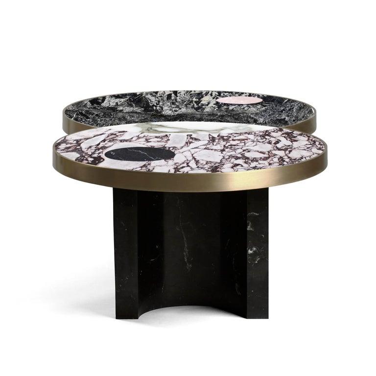 Modern Sun and Moon Marble and Metal Coffee Table, Alpine, by Lara Bohinc For Sale