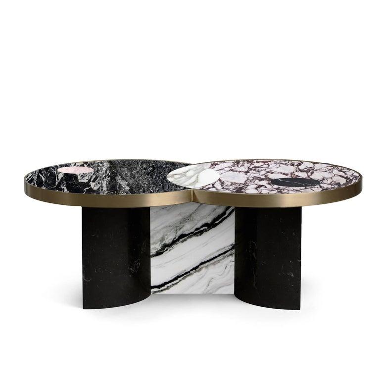 Italian Sun and Moon Marble and Metal Coffee Table, Alpine, by Lara Bohinc For Sale