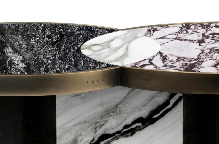 Sun and Moon Marble and Metal Coffee Table, Alpine, by Lara Bohinc In New Condition For Sale In London, GB
