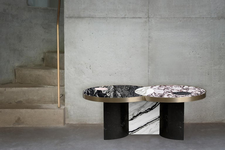 Contemporary Sun and Moon Marble and Metal Coffee Table, Alpine, by Lara Bohinc For Sale