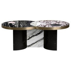 Sun and Moon Marble and Brass Coffee Table, Alpine, by Lara Bohinc