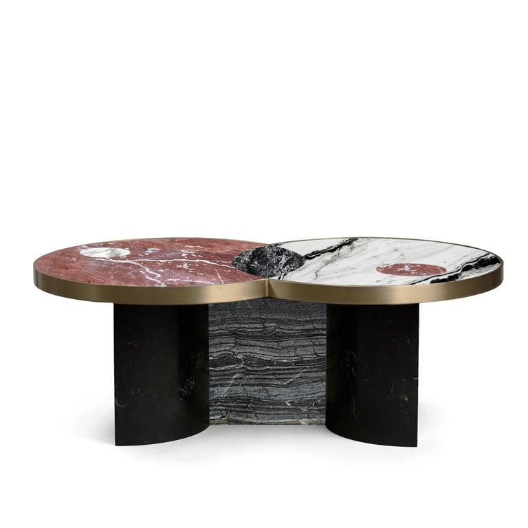 Italian Sun and Moon Marble and Metal Coffee Table, Dune, by Lara Bohinc For Sale
