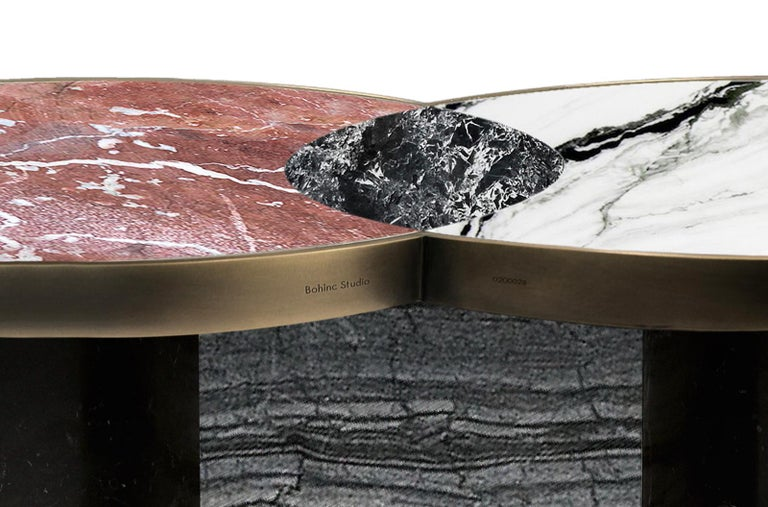 Sun and Moon Marble and Metal Coffee Table, Dune, by Lara Bohinc In New Condition For Sale In London, GB