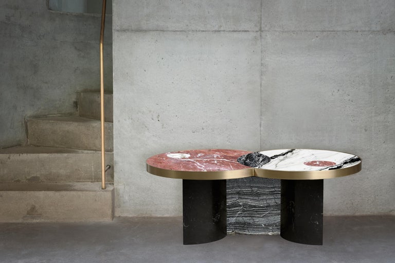 Contemporary Sun and Moon Marble and Metal Coffee Table, Dune, by Lara Bohinc For Sale