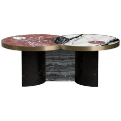 Sun and Moon Marble and Brass Coffee Table, Dune, by Lara Bohinc
