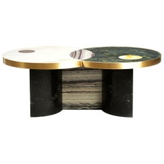 Sun and Moon Marble and Brass Coffee Table, Occasional Table, Bohinc Studio