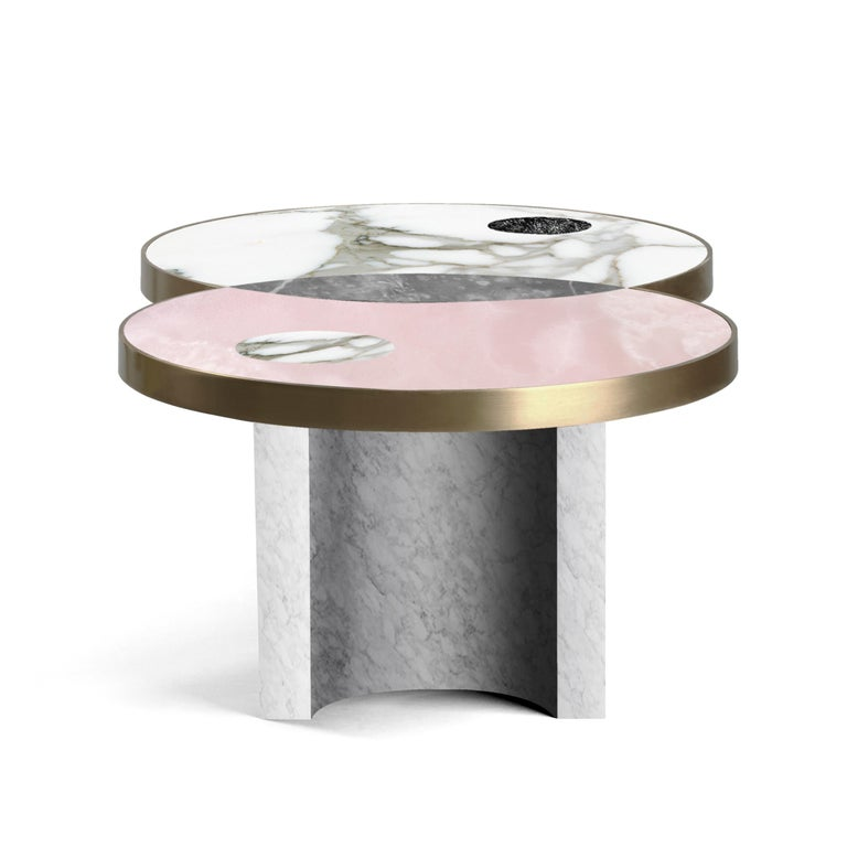 Modern Sun and Moon Marble and Metal Coffee Table, Snow, by Lara Bohinc For Sale