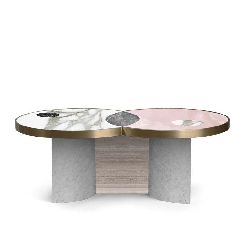 Italian Sun and Moon Marble and Metal Coffee Table, Snow, by Lara Bohinc For Sale