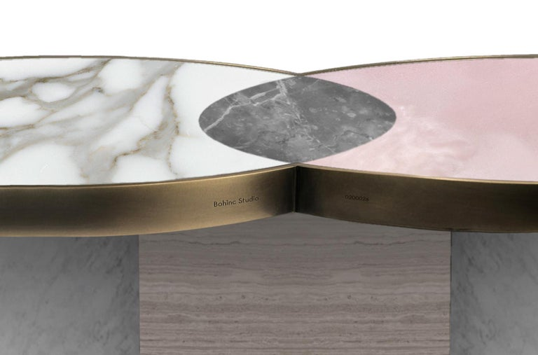 Sun and Moon Marble and Metal Coffee Table, Snow, by Lara Bohinc In New Condition For Sale In London, GB