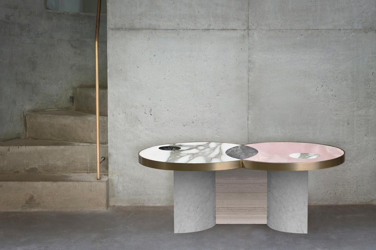 Contemporary Sun and Moon Marble and Metal Coffee Table, Snow, by Lara Bohinc For Sale