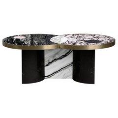 Sun and Moon Marble and Metal Coffee Table, Alpine, by Lara Bohinc