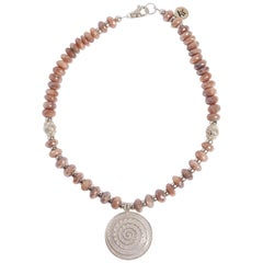 Sun and Moon Peach Moonstone Sterling Silver Necklace