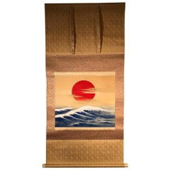Sun and Waves Japanese Hand Painted Silk Scroll, 1920s-1930s