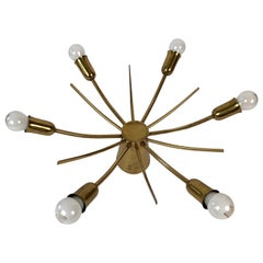 Sun Brass Ceiling Lamp from Midcentury