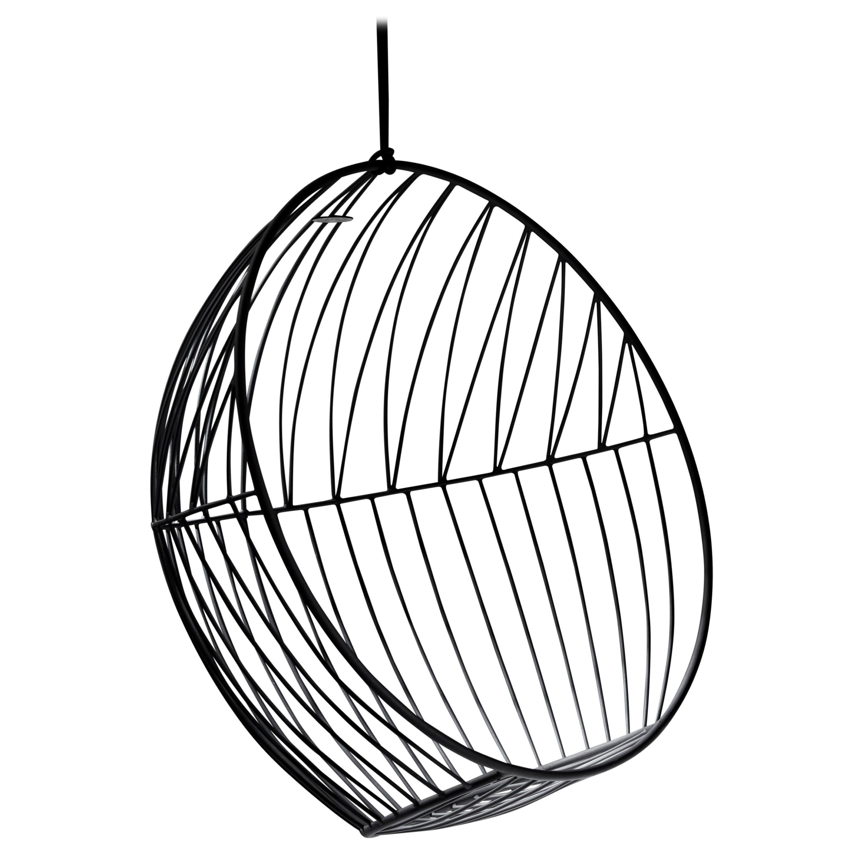 Sun Bubble Hanging Swing Chair Modern Steel In/Outdoor Black, 21st Century