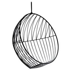 Sun Bubble Hanging Swing Chair Modern Steel In/Outdoor Black, 21st Century