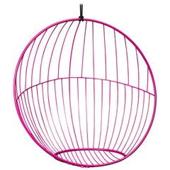 Sun Bubble Hanging Swing Chair Modern Steel In/Outdoor Pink, 21st Century