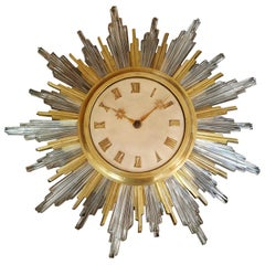 Sun Clock Bronze Dore Crystal Parchment, circa 1940 by bagues