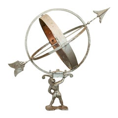 Sun Clock or Armillary from Denmark with Figure of Atlas Holding the Globe