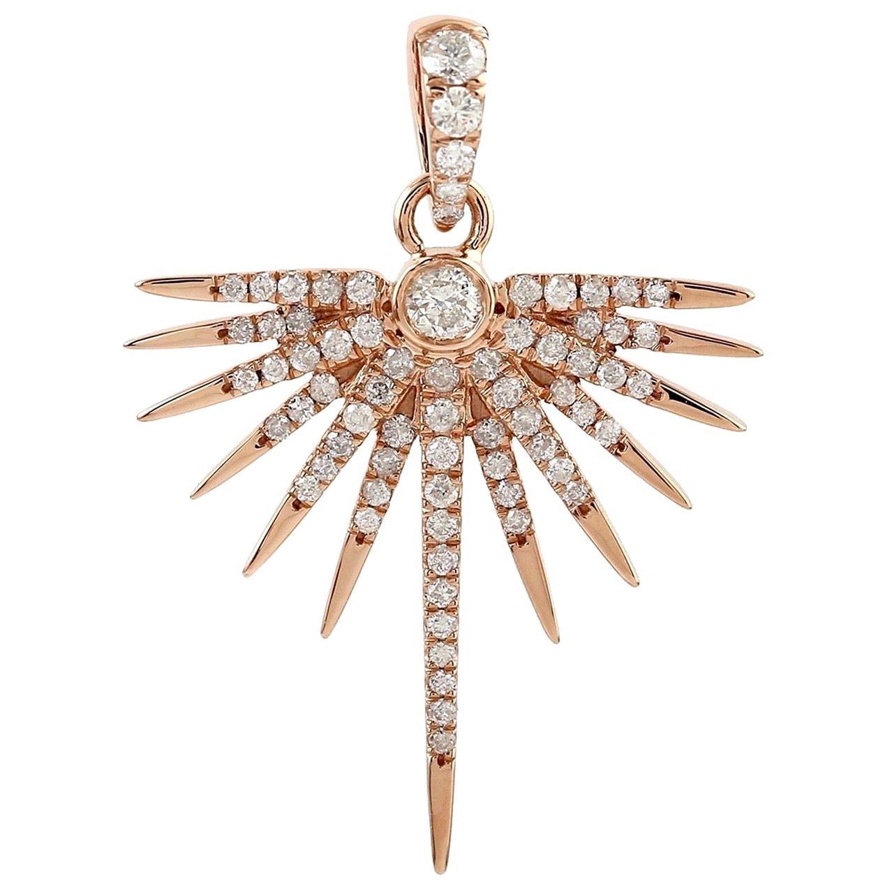 Sun Diamond 14 Karat Gold Pendant Necklace