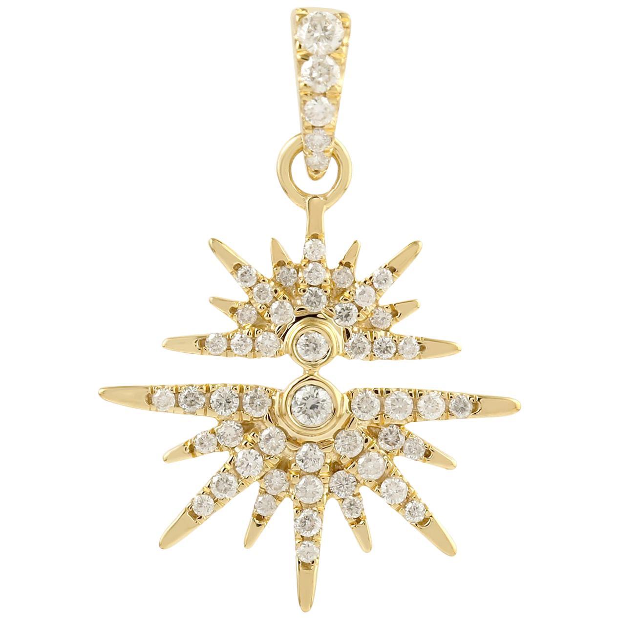 Sun Diamond 14 Karat Gold Reflection Pendant Necklace