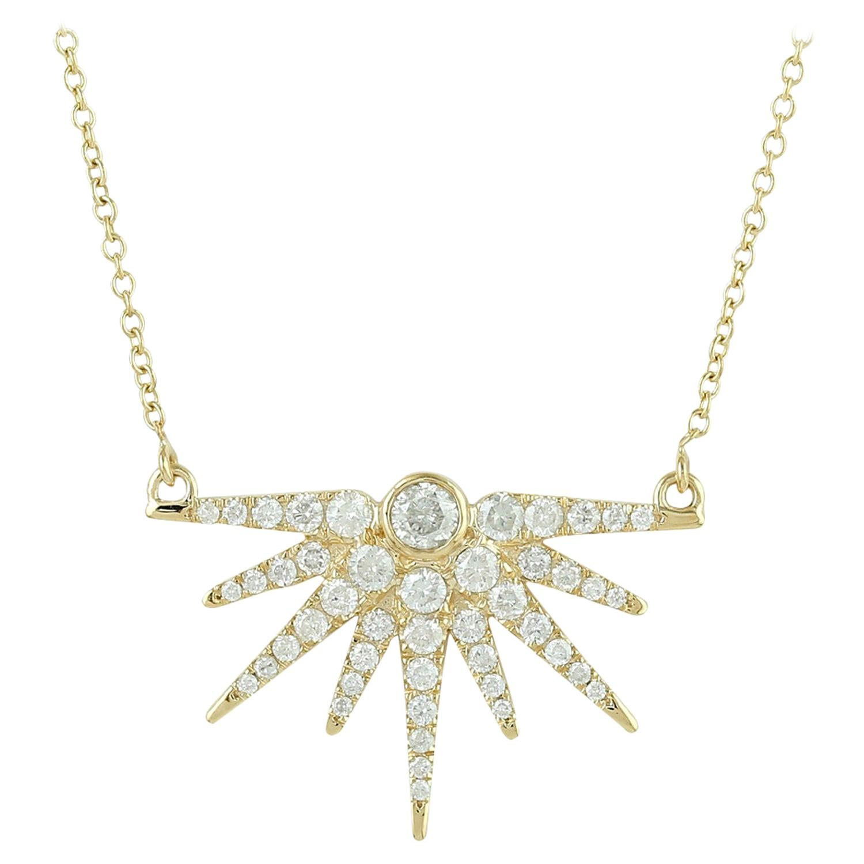 Sun Diamond 18 Karat Gold Pendant Necklace