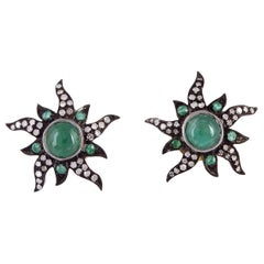 Sun Emerald Diamond Stud Earrings