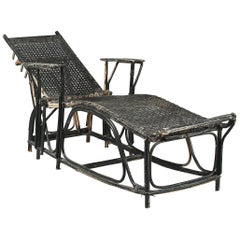 Sun Lounger with Black Colored Cane and Rattan