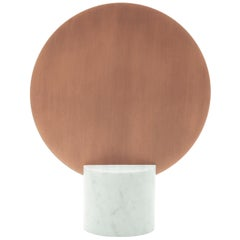 """Sun Mirror - Copper"" Minimalist Mirror in Carrara Marble and Copper"