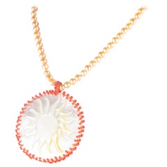 Sun Mother Pearl Coral Pendant Freshwater Pearl 18 Karat Gold Handmade Necklace