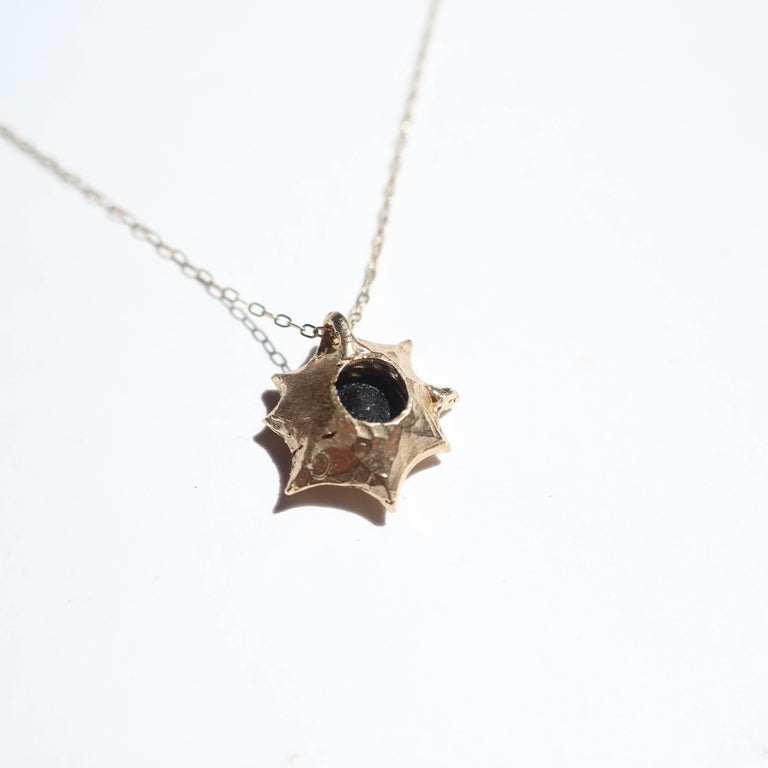 Round Cut Sun Pendant in 14 Karat Yellow Gold with Black Diamond For Sale