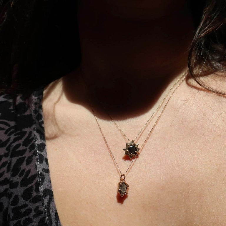 Sun Pendant in 14 Karat Yellow Gold with Black Diamond In New Condition For Sale In Foxborough, MA