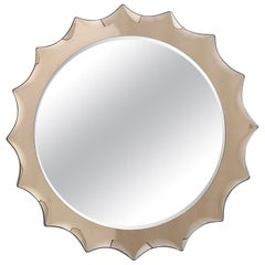 Sun Shaped Wall Mirror in the Style of Cristal Art, Italy, 1970s