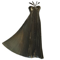 Sunary pleated  bustier evening dress in gold lamé