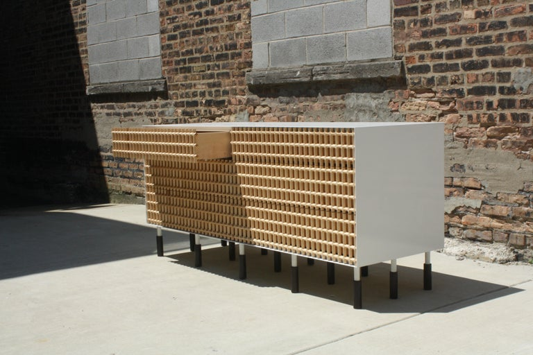 """Carved maple lattice, white enameled steel, and oxidized walnut  6 drawers - 72"""" W x 32"""" H x 24"""" D  Inspired by brise-soliel - an architectural feature designed to break the sun by casting shadows - we set out to reference this at furniture"""