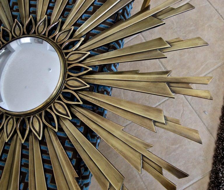 Sunburst Art Deco Bronze Metal Convex Wall Art Mirror 5