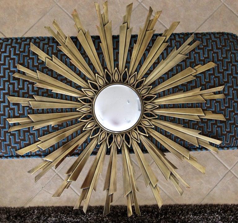Sunburst Art Deco Bronze Metal Convex Wall Art Mirror 6