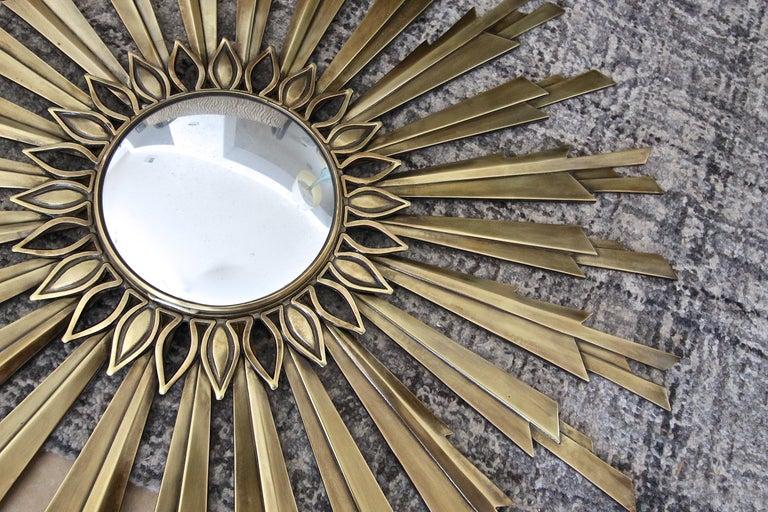 Sunburst Art Deco Bronze Metal Convex Wall Art Mirror 8
