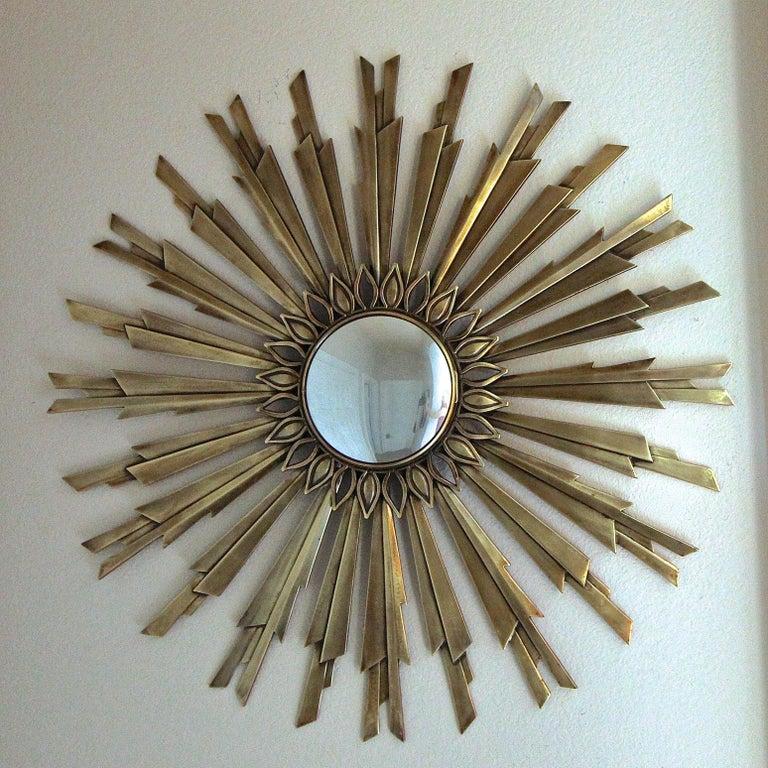 Sunburst Art Deco Bronze Metal Convex Wall Art Mirror 12