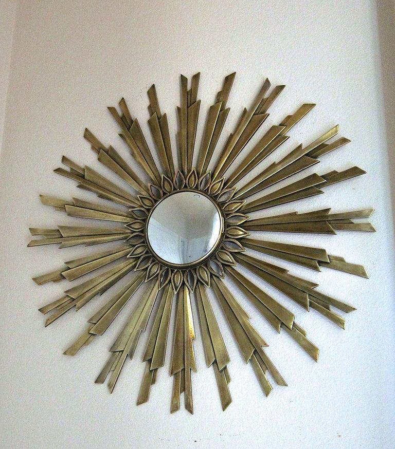 American Sunburst Art Deco Bronze Metal Convex Wall Art Mirror