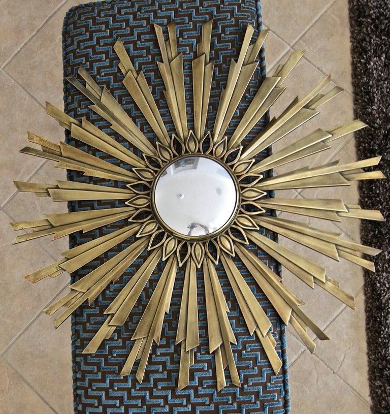 Sunburst Art Deco Bronze Metal Convex Wall Art Mirror 1
