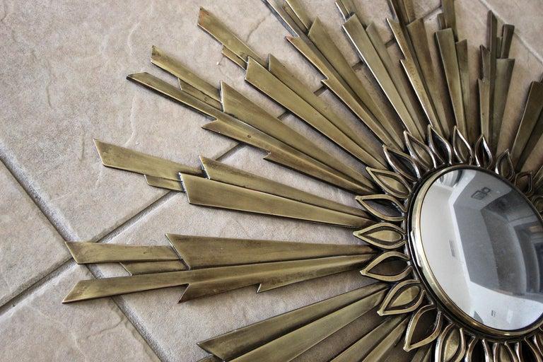 Sunburst Art Deco Bronze Metal Convex Wall Art Mirror 4