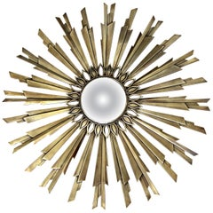 Sunburst Art Deco Bronze Metal Convex Wall Art Mirror